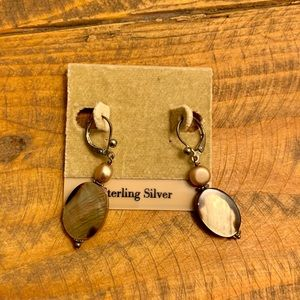 CHICOS Abalone & Sterling Silver Dangle Earrings